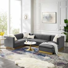 Sanguine 3 Piece Performance Velvet Sectional Sofa Set in Gray