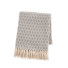 See Details - Charcoal & Natural Honeycomb Woven Throw