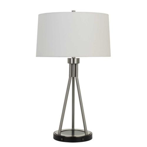 150W 3 Way Halle Metal Table Lamp With Two USB Charging Ports