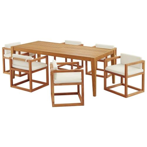 Newbury 7 Piece Outdoor Patio Premium Grade A Teak Wood Set in Natural White