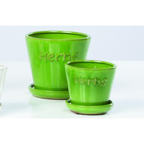 Herbs Petits Pots w/atthd saucr GRN S/2 4 sets/ctn