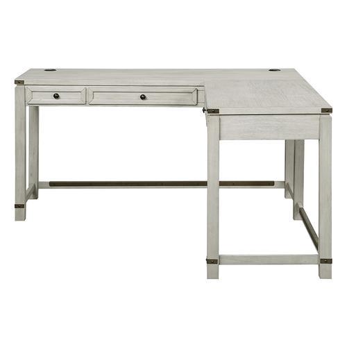 Office Star - Baton Rouge L-shap Desk In Champagne Oak Finish