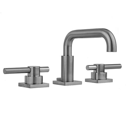 Satin Gold - Downtown Contempo Faucet with Square Escutcheons & Peg Lever Handles & Fully Polished & Plated Pop-Up Drain