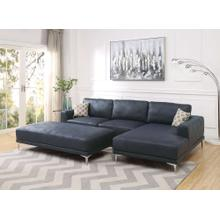 Grant 2pc Sectional Sofa Set, Ink-blue-leatherette