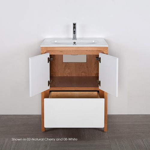 Free standing under counter vanity with routed finger pulls on two doors and one drawer. Bathroom Sink sold separately. Multi finish combinations are custom.