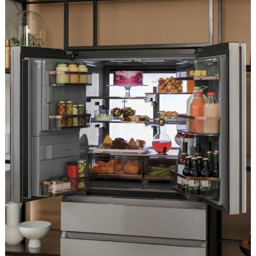 Café ENERGY STAR ® 27.8 Cu. Ft. Smart 4-Door French-Door Refrigerator in Platinum Glass