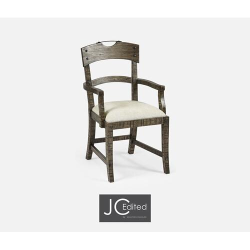 Planked Dark Driftwood Dining Armchair, Upholstered in Shambala