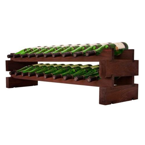 2 x 10 Bottle Modular Wine Rack (Stained)