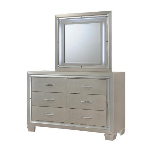 Platinum Youth Dresser & Mirror w/ LED Light Set