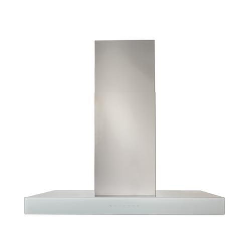 BEST Range Hoods - 36-inch Island Range Hood, 650 Max Blower CFM, Stainless Steel, White Glass (ICB3 Series)