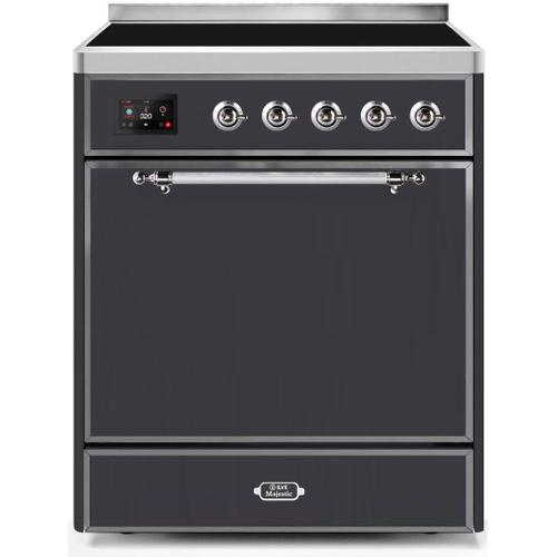 Product Image - Majestic II 30 Inch Electric Freestanding Range in Matte Graphite with Chrome Trim