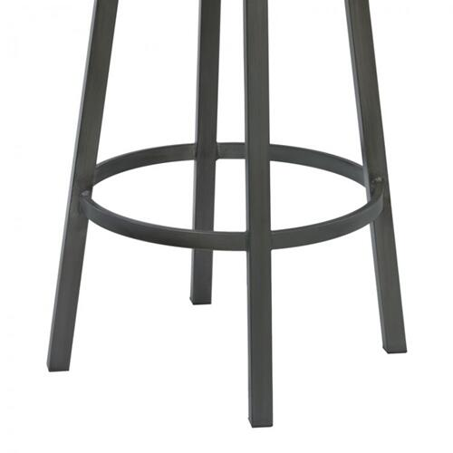 "Armen Living Madrid 26"" Counter Height Metal Swivel Barstool in Ford Black Pu and Mineral Finish"
