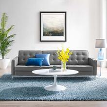 Loft Tufted Upholstered Faux Leather Sofa in Silver Gray