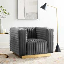 Charisma Channel Tufted Performance Velvet Accent Armchair in Charcoal