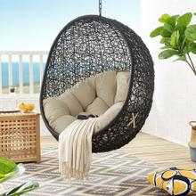 Encase Sunbrella® Fabric Swing Outdoor Patio Lounge Chair Without Stand in Black Beige