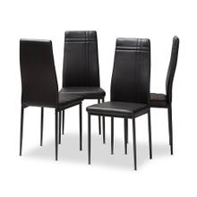 View Product - Baxton Studio Matiese Modern and Contemporary Black Faux Leather Upholstered Dining Chair (Set of 4)