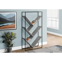 "BOOKCASE - 60""H / GREY / BLACK METAL"