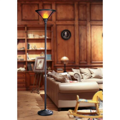 Cal Lighting & Accessories - 150W 3 Way Torchiere W/Mica Shade