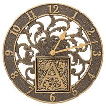 """View Product - Silhouette Monogram 12"""" Personalized Indoor Outdoor Wall Clock - French Bronze"""