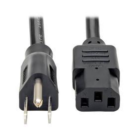 Computer Power Cord, NEMA 5-15P to C13 - Heavy Duty, 15A, 125V, 14 AWG, 3 ft., Black