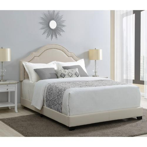 Shaped Back Upholstered Queen Bed in Linen Beige