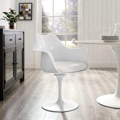 Lippa Dining Fabric Armchair in White