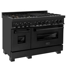 "ZLINE 48"" Black Stainless 6.0 cu.ft. 7 Gas Burner/Electric Oven Range with Brass Burners (RAB-BR-48)"