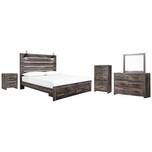 King Panel Bed With Storage With Mirrored Dresser, Chest and Nightstand