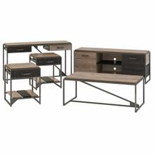 See Details - 60W TV Stand with Console Table, Coffee Table and End Tables, Rustic Gray/Charred Wood