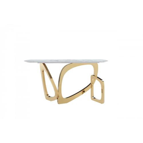 Modrest Colton - Modern Gray Microlite & Gold Console Table