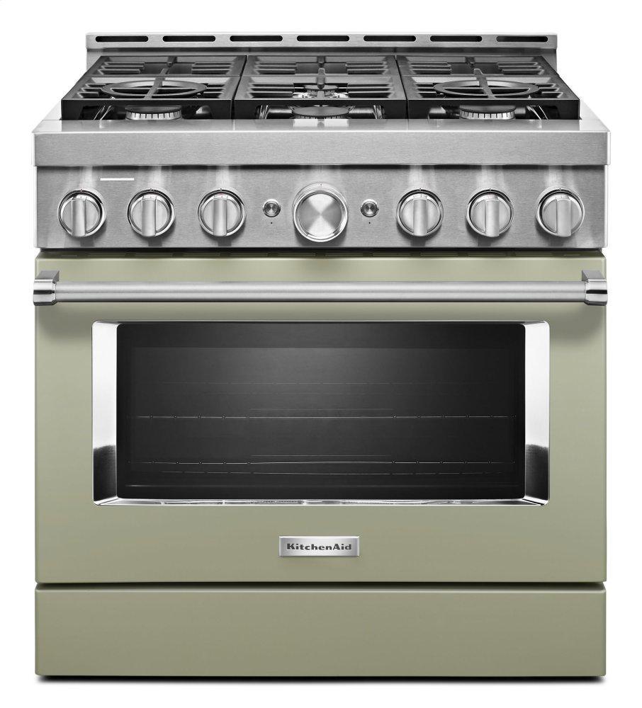 KitchenAidKitchenaid® 36'' Smart Commercial-Style Gas Range With 6 Burners - Avocado Cream