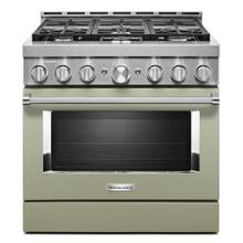 KitchenAid® 36'' Smart Commercial-Style Gas Range with 6 Burners - Matte Avocado Cream