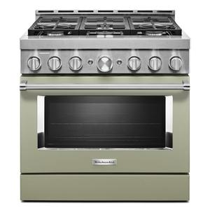 KitchenAid® 36'' Smart Commercial-Style Gas Range with 6 Burners - Avocado Cream Product Image