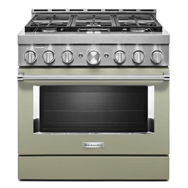 Kitchenaid KitchenAid® 36'' Smart Commercial-Style Gas Range with 6 Burners - Avocado Cream