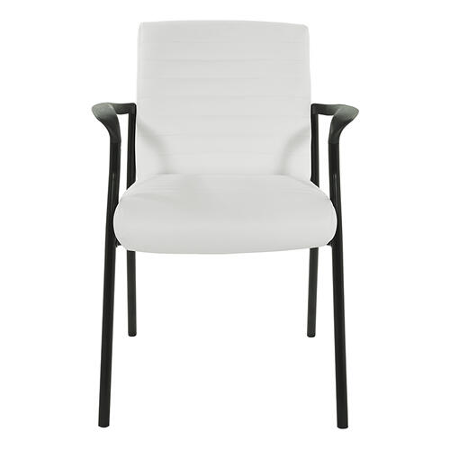 Office Star - Guest Chair In White Faux Leather With Black Frame