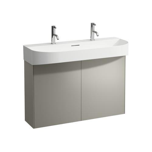 White Matte & Nero Marquina Vanity unit, 2 doors, matching washbasin 810347