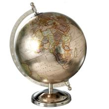 """View Product - 8"""" Metallic Globe with Silver Stand."""