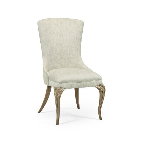 Rounded Rivoli Walnut Dining Side Chair, Upholstered in Shambala