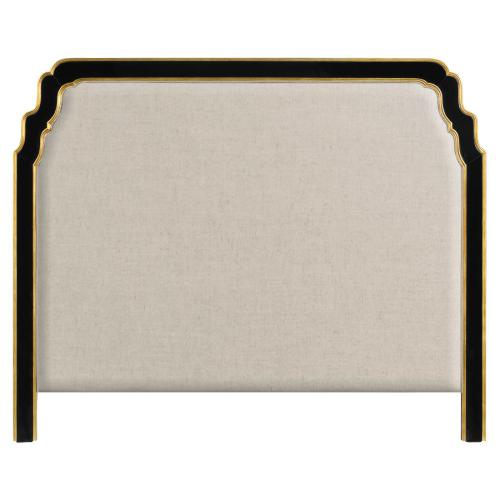 US Queen Black & Gilded Headboard, Upholstered in MAZO