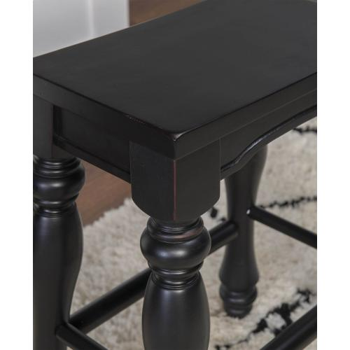 Turned Legs and Solid Wood Seat Kitchen Island Stool, Black (set of 2)