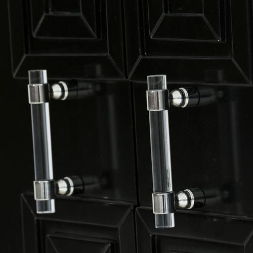 Black Geometric Overlay Door Chest