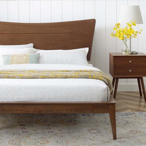 Astra Twin Wood Platform Bed in Walnut