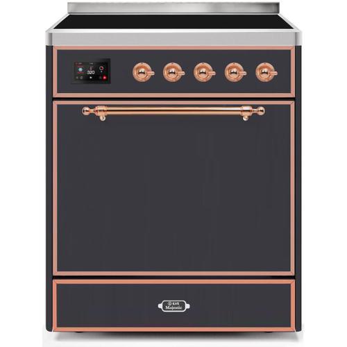 Ilve - Majestic II 30 Inch Electric Freestanding Range in Matte Graphite with Copper Trim