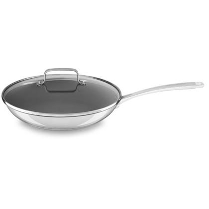 "Stainless Steel 12"" Nonstick Skillet with lid - Polished Stainless Steel"
