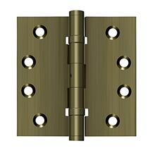 "4"" x 4"" Square Hinges, Ball Bearings - Antique Brass"