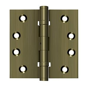"""Deltana - 4"""" x 4"""" Square Hinges, Ball Bearings - Antique Brass"""