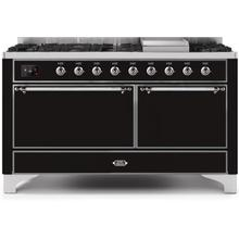 "60"" Inch Glossy Black Natural Gas Freestanding Range"