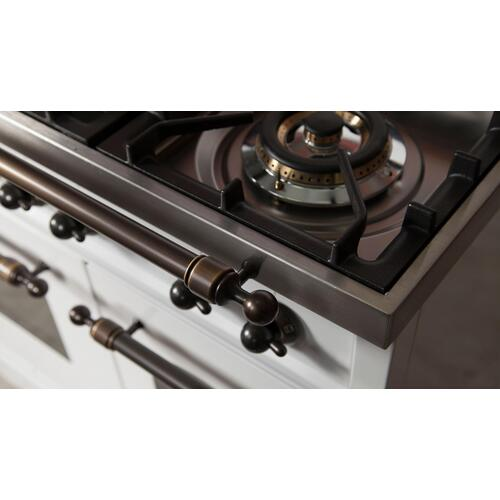 Nostalgie 48 Inch Dual Fuel Natural Gas Freestanding Range in White with Bronze Trim