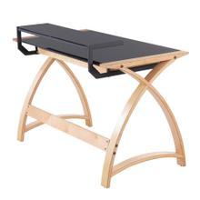 See Details - Bentley Office Desk - Natural Wood, Black Glass
