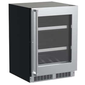 24-In Professional Built-In Beverage Center With Reversible Hinge with Door Style - Stainless Steel Frame Glass